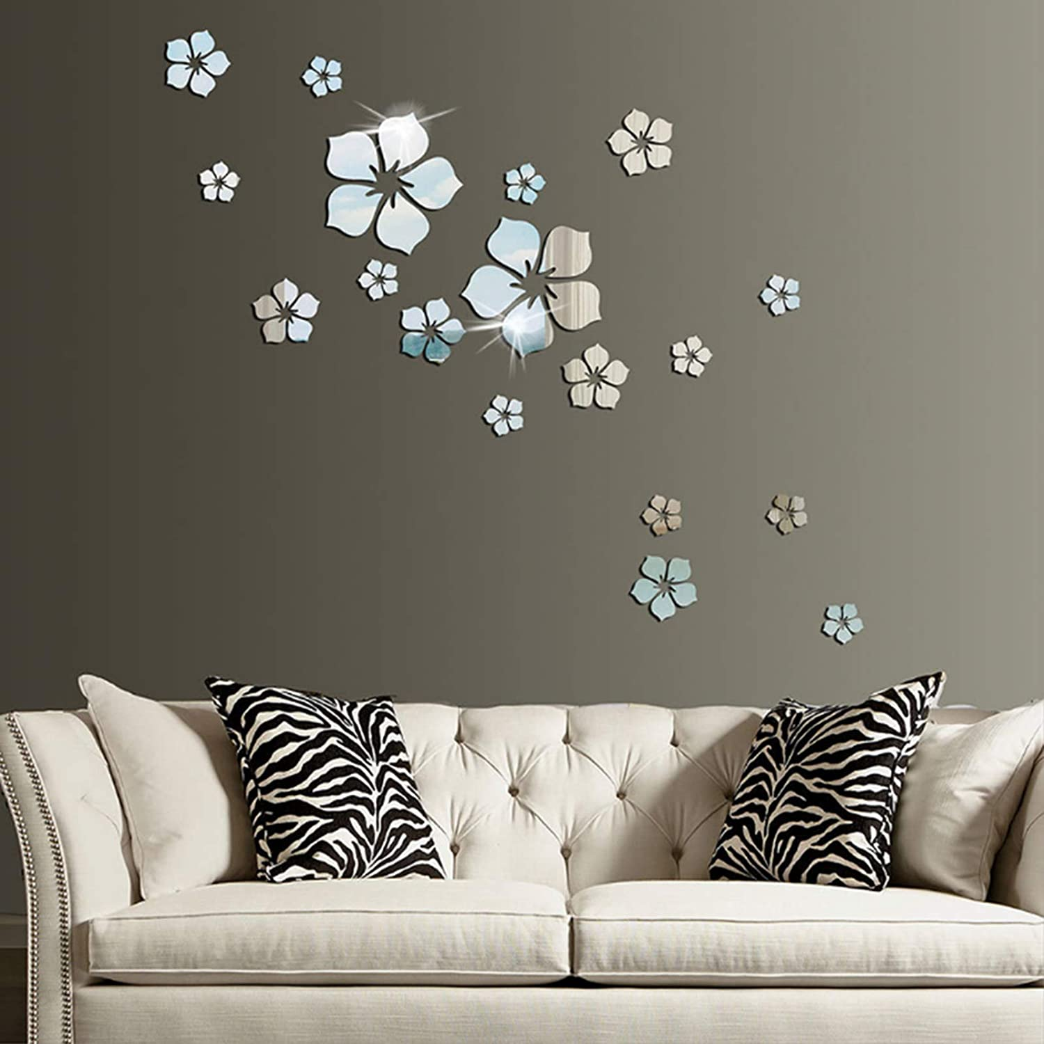 18pcs Acrylic Mirror Wall Sticker Decal for Home Living Room Bedroom Decor 3D Flower DIY Wall Decoration Silver
