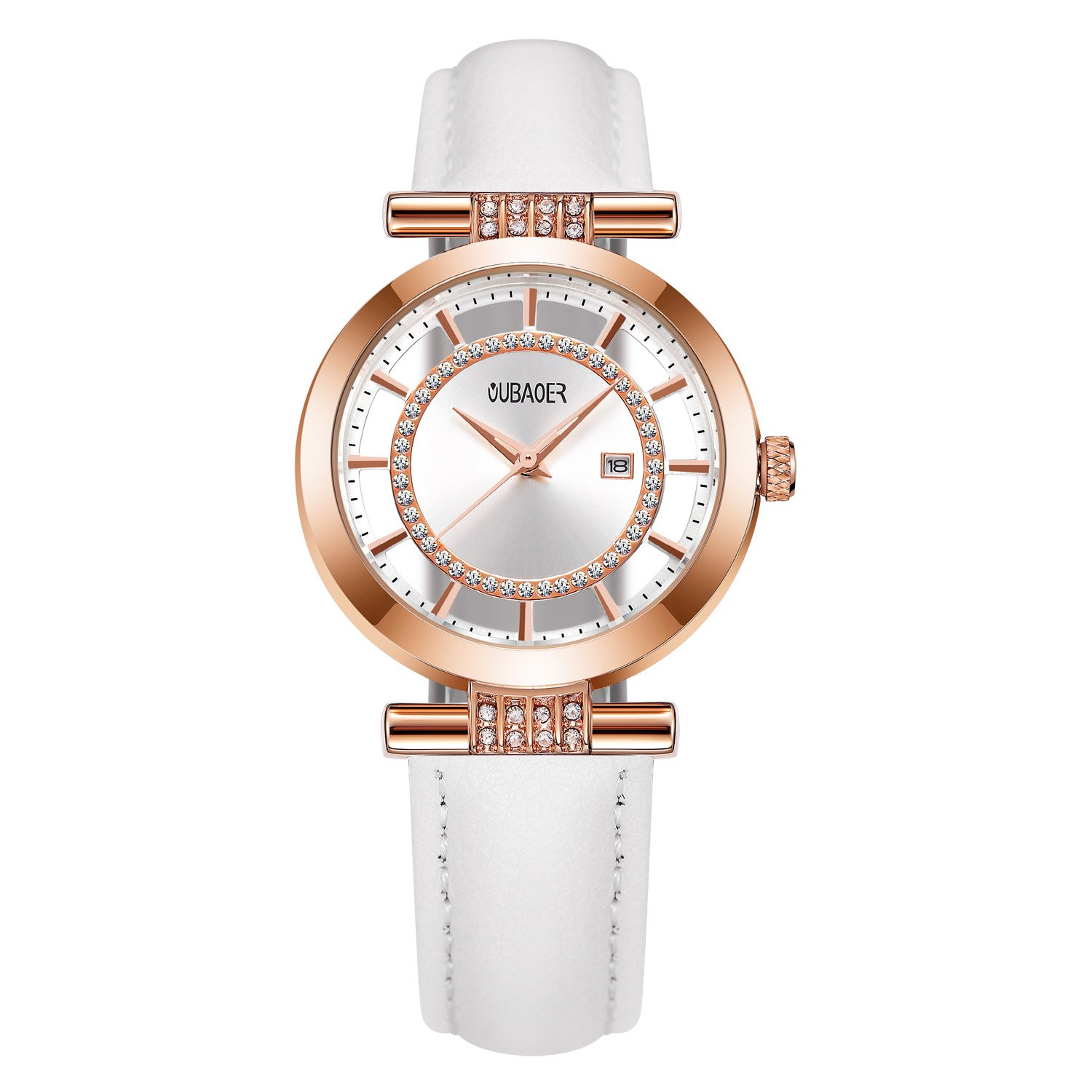 Womens Quartz Watch OUBAOER Crystal Accented Leather Band Watch for Women Transparent Watch with Date Lady Wristwatches for Business(Rose White)