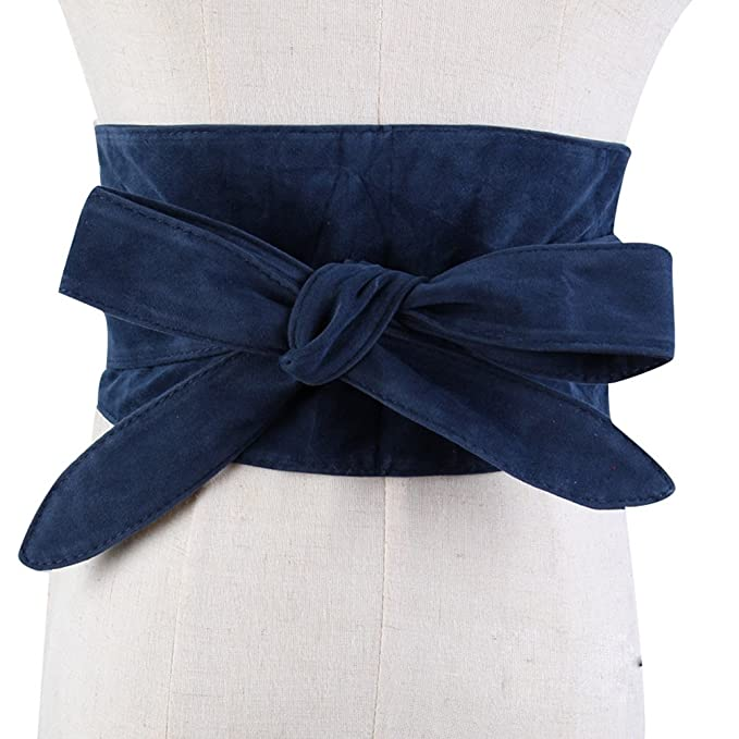 YuanDian Mujer Bowknot Ancha Cinturones Chincher Corsé Cincha Franela Casual Moda Cinturón Azul Oscuro Talla única