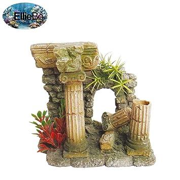 Ellie-Bo templo ruinas pintada a mano de poliresina de acuario adorno, 16 x 10 x 13,5 cm: Amazon.es: Productos para mascotas