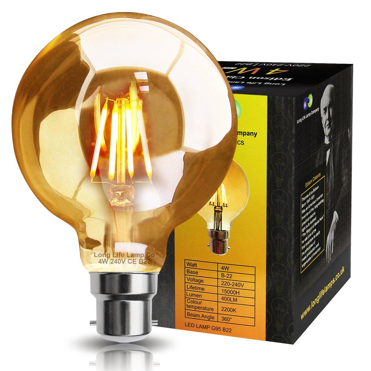 Vintage edison bulb old fashioned lamp classic a60 led 2w or 4w - Retro Vintage Led 4w Globe Edison Style Filament Bulb Smoked Gold Glass G95 B22 Bayonet Amazon Co Uk Lighting