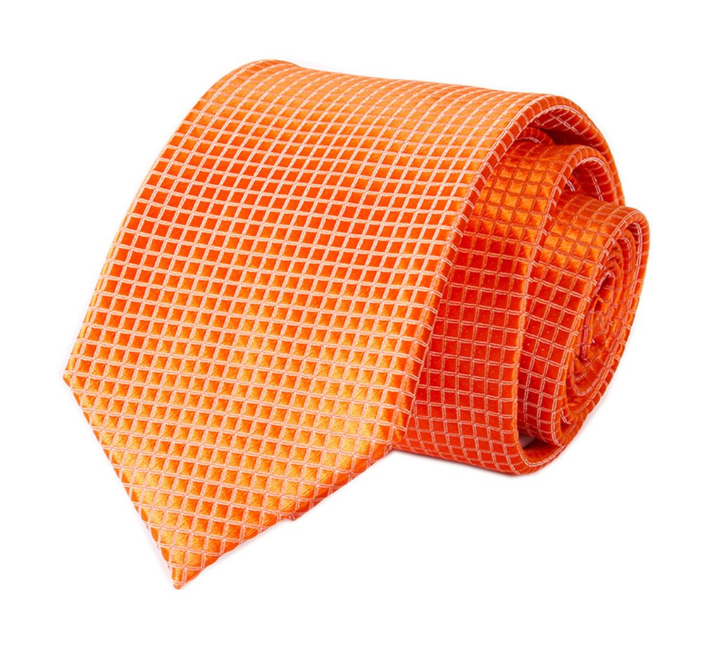 Men's Solid Color Orange Ties Micro Plain Woven Working Neckties Holiday Gifts