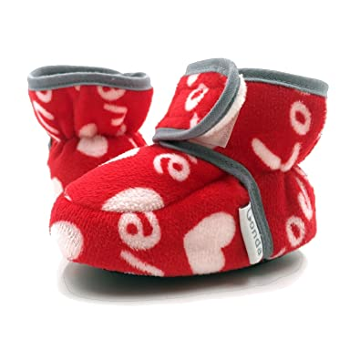 CONDA Baby Booties Girl   Boy Infant Fleece Slippers - Red Heart Valentines  Soft Cozy and 6b34aed7b5b2