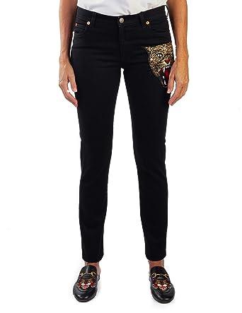 Amazon.com  Gucci Women s Cotton Embroidered Tiger Applique Denim ... 4538aabcce