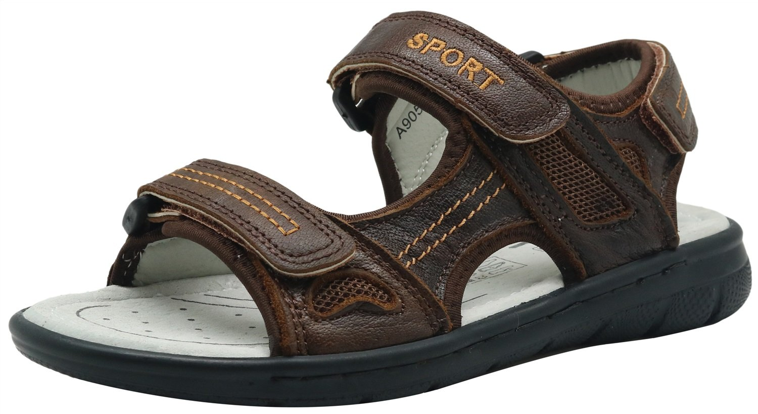 Little Kid//Big Kid Color : Brown , Size : 2.5 M US Little Kid Non-Slip Kids Boys Outdoor Shoes Leather Three-Strap Casual Sandal Durable