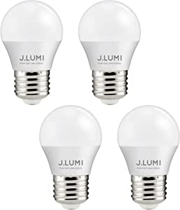 J.LUMI BPC4505 LED Bulb 5W, A15 Bulb, G45 Bulb Shape, 40 Watt Equivalent, E26 Base, 3000K Soft White, Ceiling Fan Light Bulbs, Appliance Bulb, Bathroom Light Bulbs, Non Dimmable (Pack of 4)