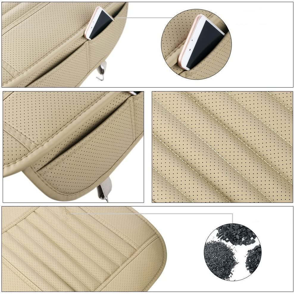 Single Seat Without Backrest Car Seat Cover Brown EverFablous 1 PCS PU Leather Bamboo Charcoal Breathable Comfortable Car Seat Cushion Pad Mat Full Cover the Seat Edge for Auto Front Seat