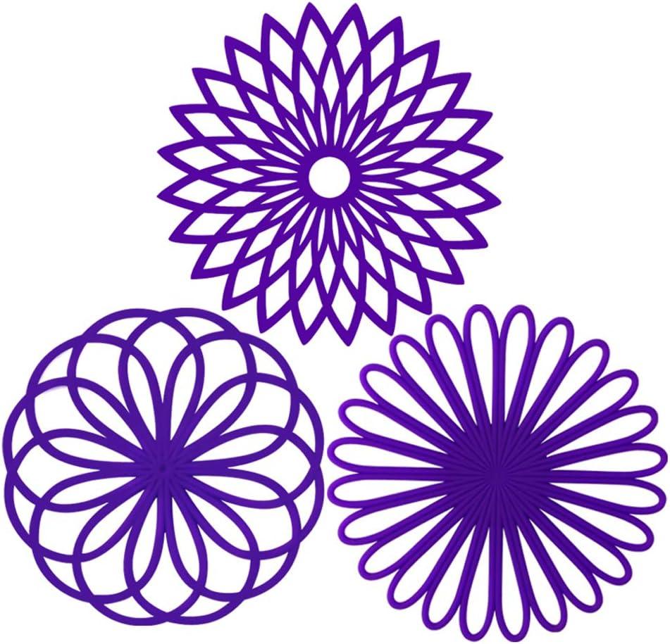 ME.FAN 3 Set Silicone Multi-Use Flower Trivet Mat - Premium Quality Insulated Flexible Durable Non Slip Coasters Hot Pads Deep Purple