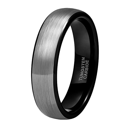 Shuremaster 6mm 8mm Black Grey Tungsten Carbide Rings For Men Women Brushed  Dome Wedding Band Size