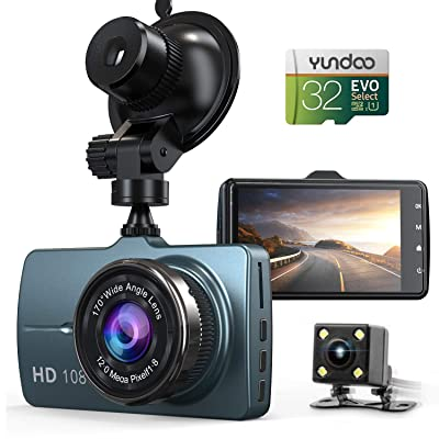 "Dash Cam Front and Rear Car Camera, 1080P 3.2"" Dashboard Camera with 32GB SD Card, 170°Wide Angle, Night Vision Dashcam for Cars, Driving Recorder with G-Sensor, Loop Recording"