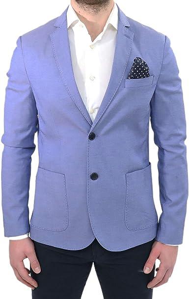 Chaqueta Elegante de los Hombres de Primavera a la Medida Slim-Fit Azul Celeste con Lunares Embrague Bolsillo de un Traje Ceremonia en la Blazer de Algodón Casual: Amazon.es: Ropa y accesorios