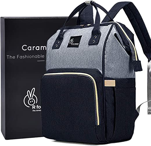 R for Rabbit Caramello Diaper Bag for Mother Waterproof Maternity Bag (Black Grey)
