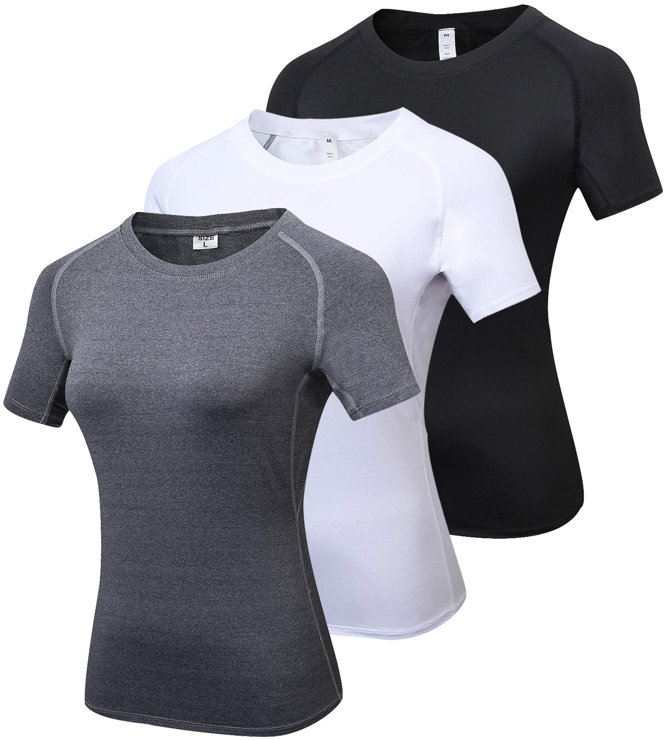 44b04dfb5 Lavento Women s Compression Shirts Crewneck Short-Sleeve Athletic T-Shirts  product image