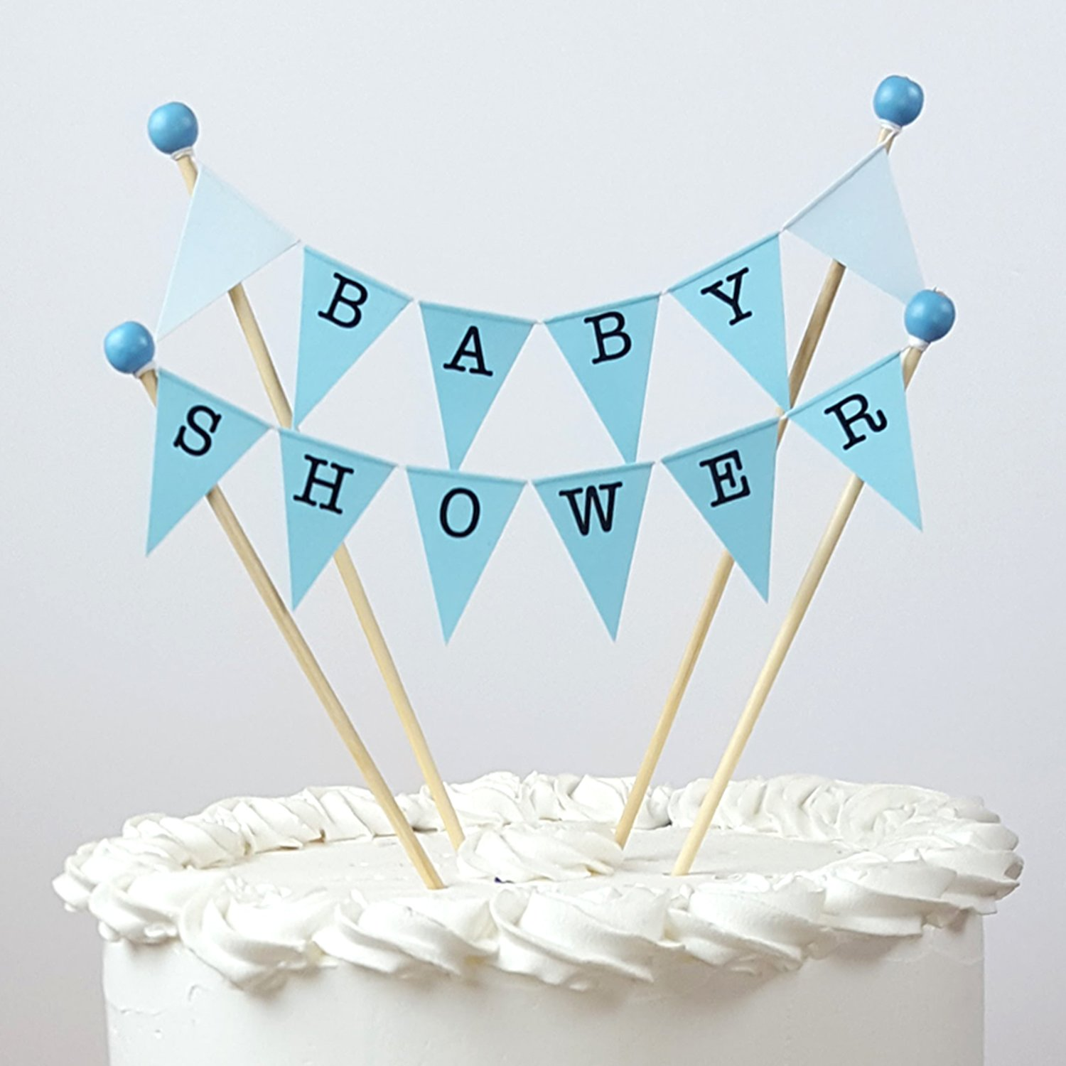 Blue Hearts Baby Shower /'It�s a Boy/' Bunting Cake Topper