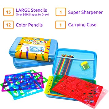 3 pack stencil drawing kit w carry case over 300 shapes