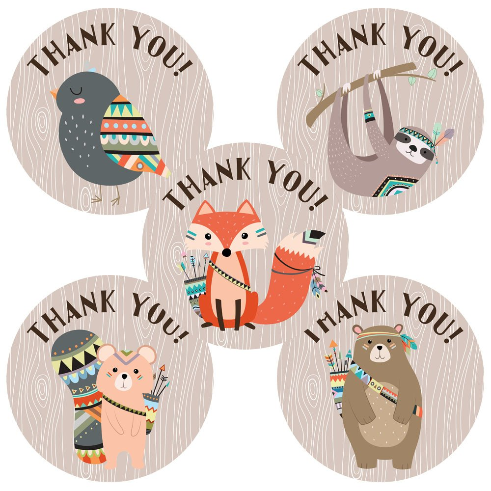 Tribal woodland forest animal thank you sticker labels birthday baby shower wood party set of 50 amazon ca handmade