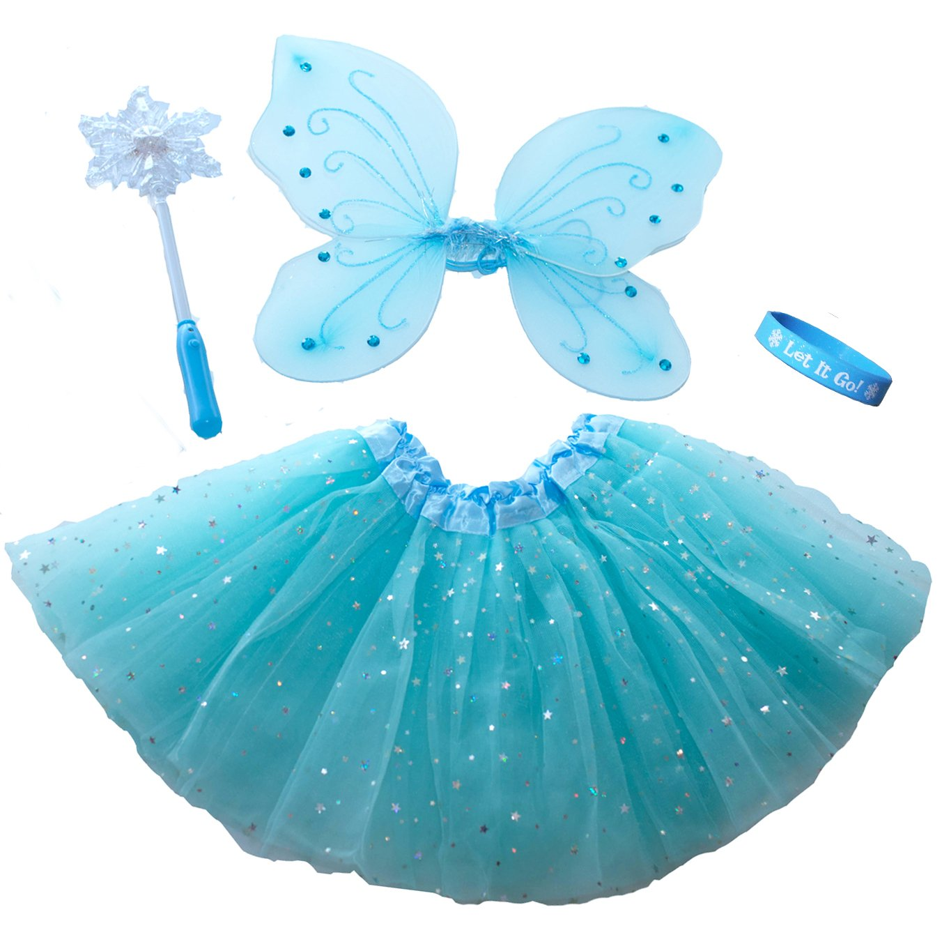 Frozen Inspired Fairy Princess Set Light Up Snowflake Wand Let It Go Band