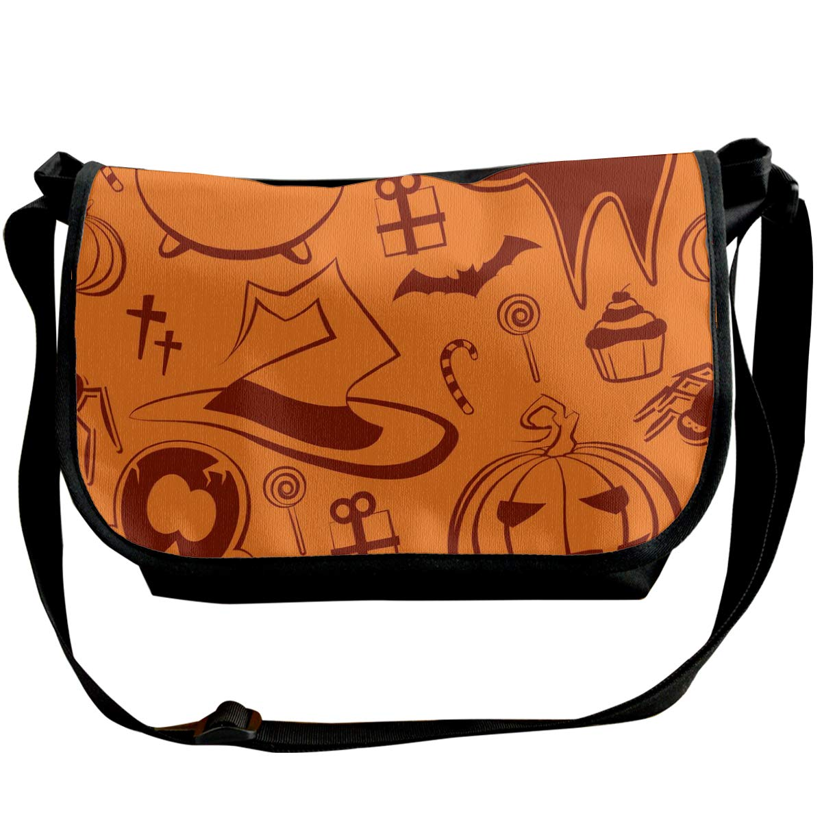 Taslilye Halloween Pattern Vector Image Customized Wide Crossbody Shoulder Bag For Men And Women For Daily Work Or Travel