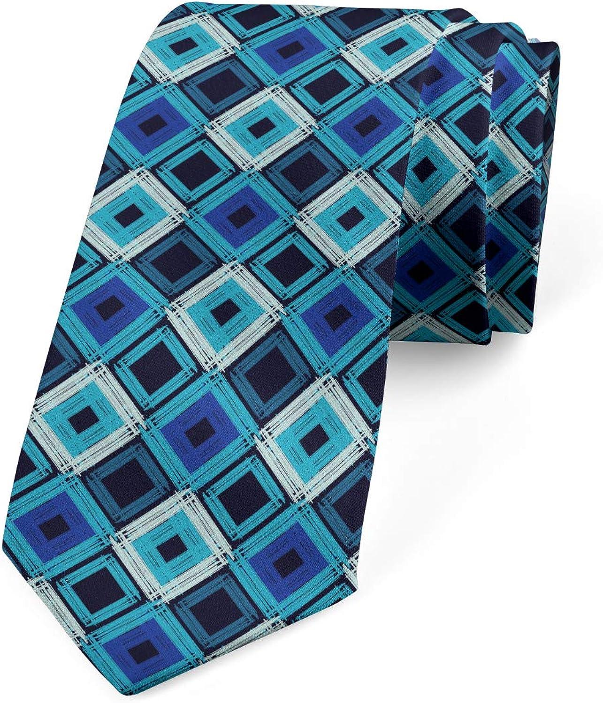 Ambesonne Necktie 3.7 Boho Retro Grunge Motifs Violet Blue Sky Blue