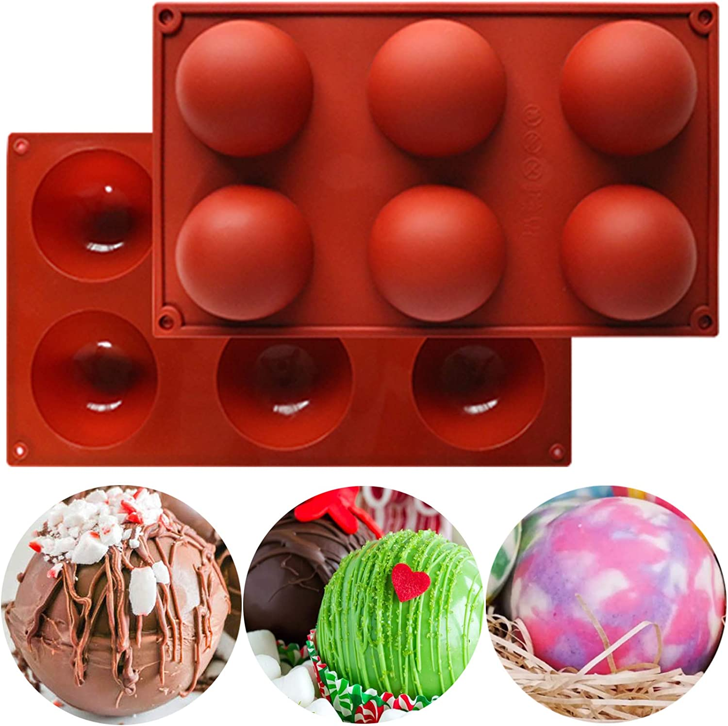 Large Silicone Molds 6 Holes Silicone Baking Mold Food Grade Silicone Baking Pan For Making Hot Chocolate Bombs,Cake,Candy,Jelly,Pudding,Dome Mousse-2 Pack