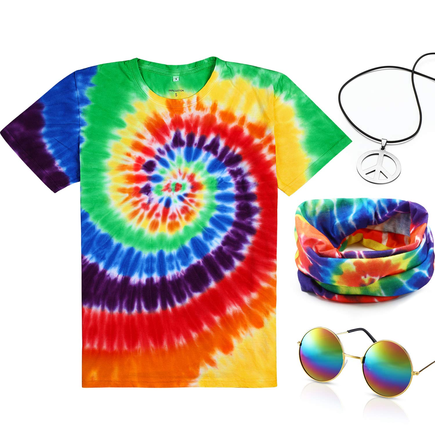 Hippie Dress | Long, Boho, Vintage, 70s 4 Pieces Hippie Costume Set Include Colorful Tie-Dye T-Shirt Peace Sign Necklace Headband and Sunglasses for Theme Parties $23.99 AT vintagedancer.com