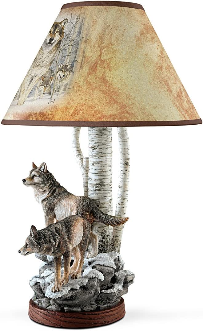 Spirit Wolf Forest Table Lamp Wolves Statue Sculpture Light Lamps NEW