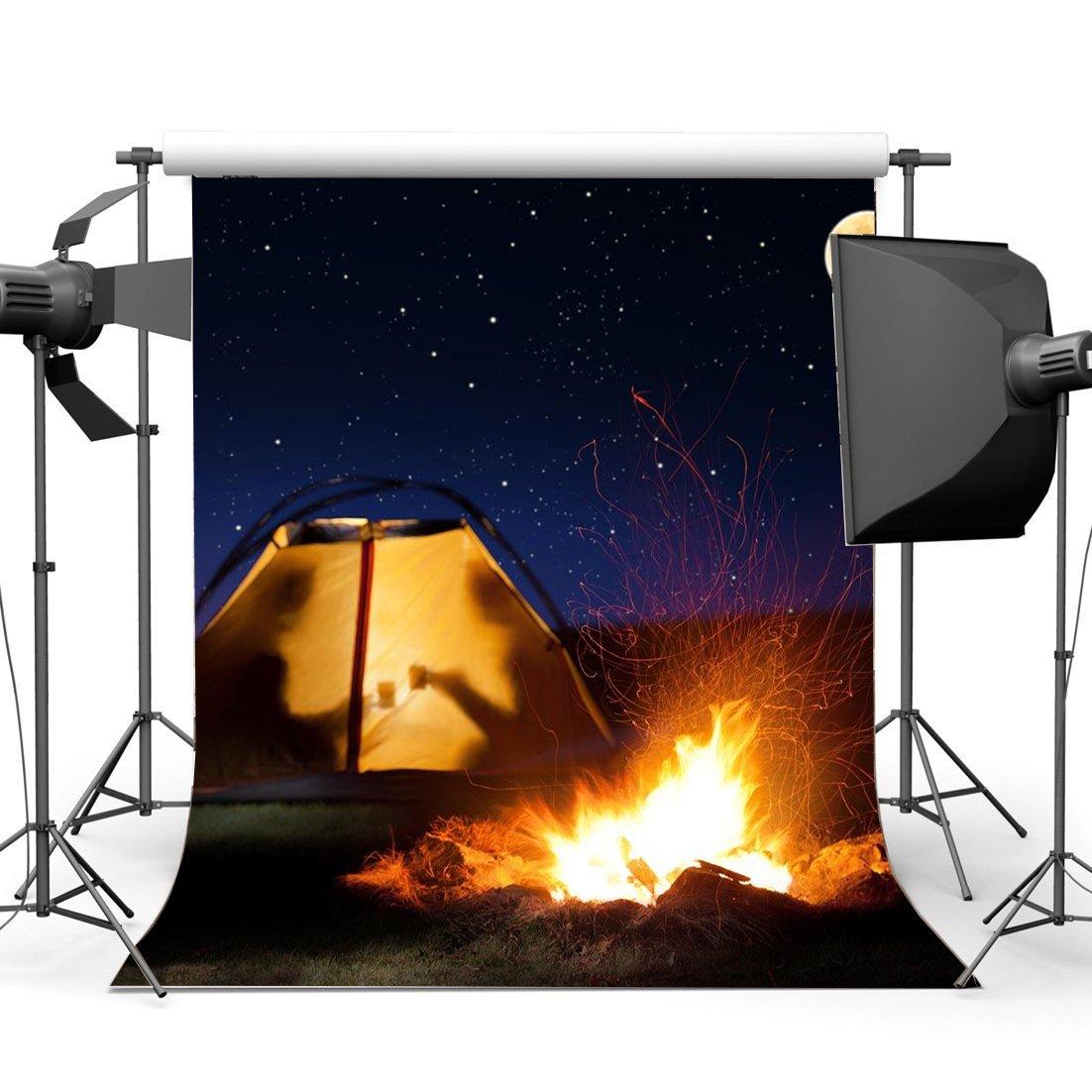 gladbuy Summer Camp Backdrop 5 x 7ftビニールTwinkle Starry Sky Shining Moon Night BackdropsアウトドアハイキングテントBonfire写真背景のスポーツWild Adventure Journeyフォトスタジオ小道具bl43   B07DPFMWGJ