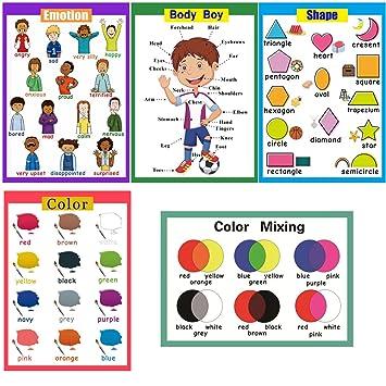 SANCENT 5 Pósteres de preescolar laminados para niños pequeños con ...