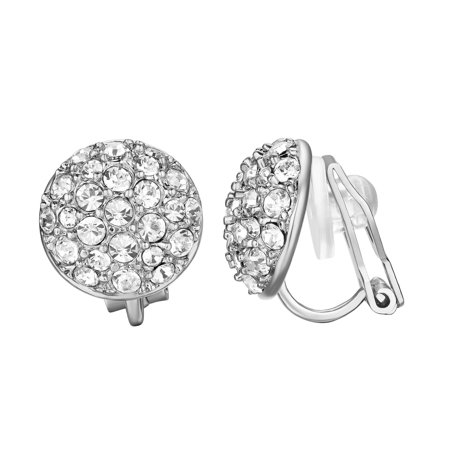 Yoursfs Clip On Earrings for Women 18K White Gold Plated Sparkle CZ Round Cocktail Earring Jewelry ... by Yoursfs