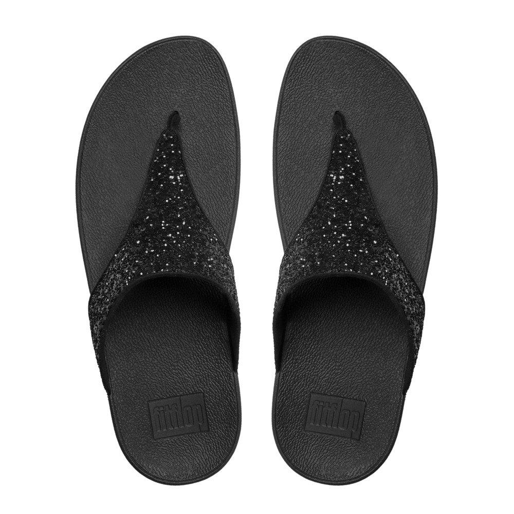 FitFlop Damen Schwarz Glitterball Toe-Post T-Spangen Sandalen, Schwarz Damen (schwarz) d730ea