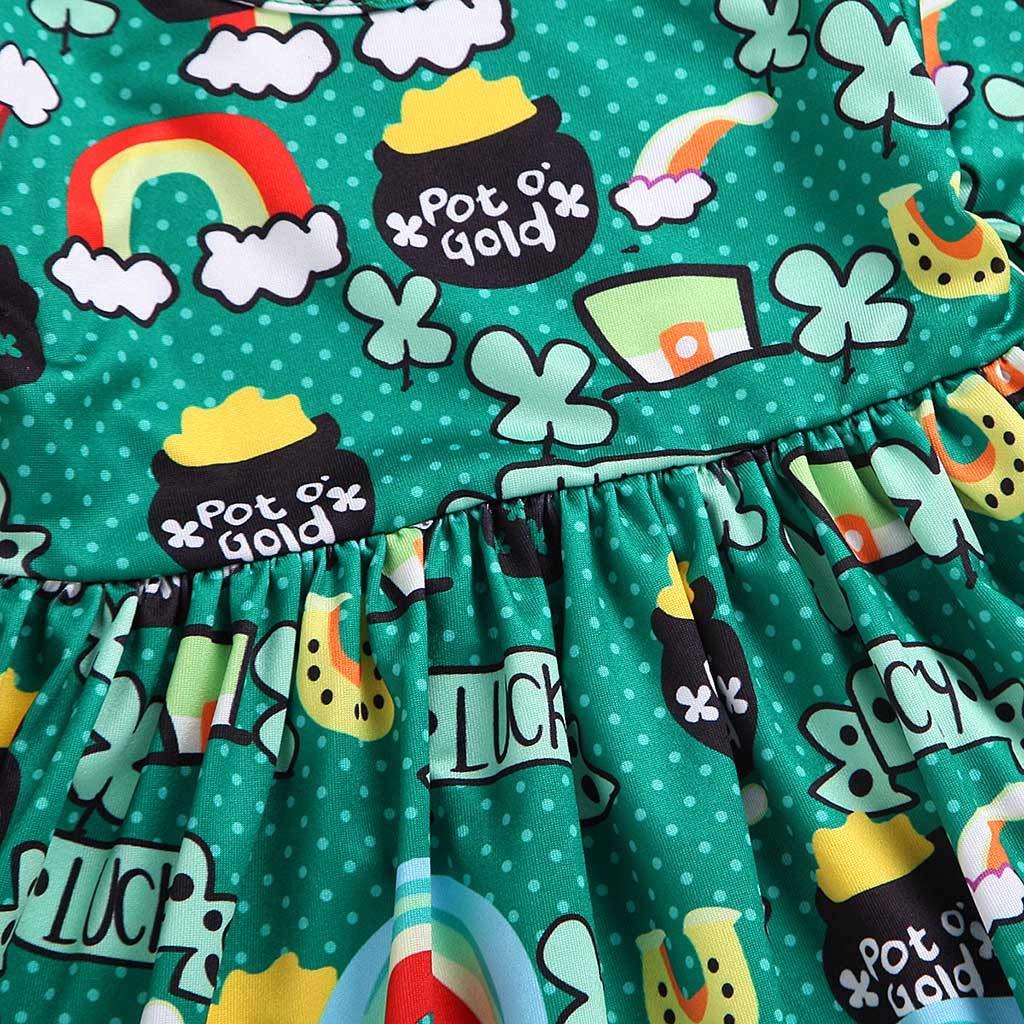 GorNorriss Baby Dress Toddler Girls Long Sleeve Cartoon Rainbow Flower Print Dress