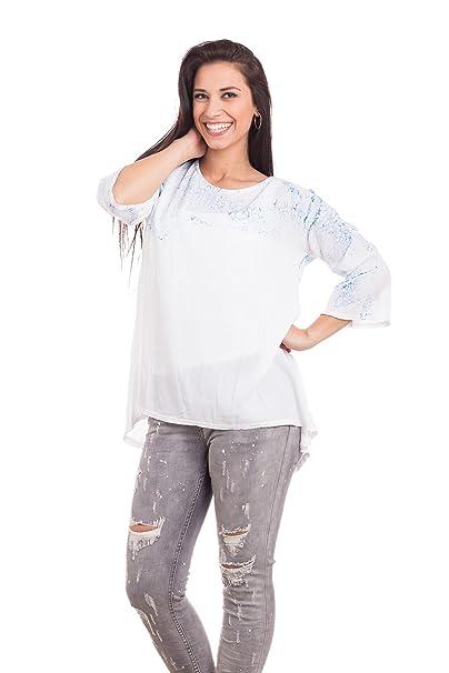 Abbino Jenny Camisa Blusa Top para Müjer - Hecho en ITALIA - 5 Colores - Verano