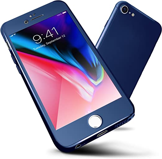 ORETECH Designed for iPhone 6S Plus Case,6 Plus Case 360 Full Body Hard PC with[2 x Tempered Glass Screen Protector] Ultra Thin Lightweight Shockproof ...