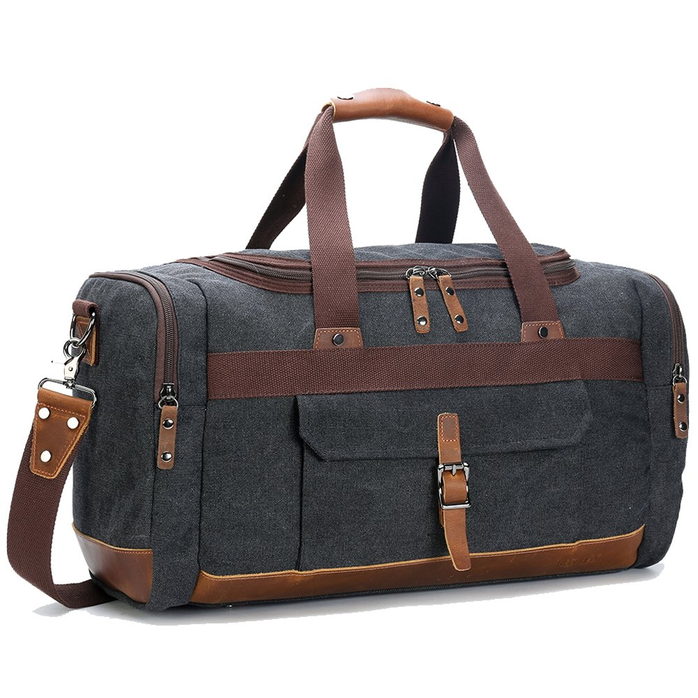 BLUBOON Canvas Genuine Leather Trim Overnight Travel Duffel Bag Weekend Tote Bag Carry on Luggage 10450674