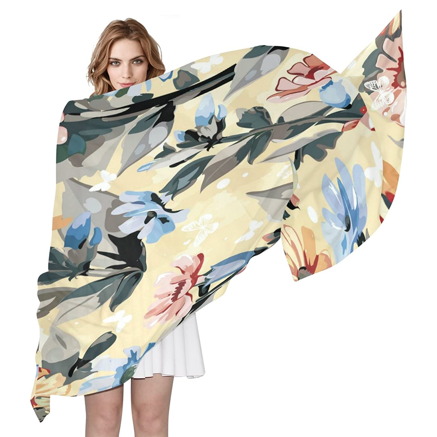 WDYSECRET Wine Red And Blue Floral Silk Printing Scarves for Women 70.86x35.4(in)