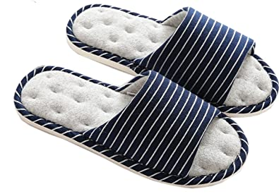 7ff86cb77b34 Image Unavailable. Image not available for. Colour  Asifn Indoor Home  Slippers Memory Foam Men Women Cotton Cozy Massage ...