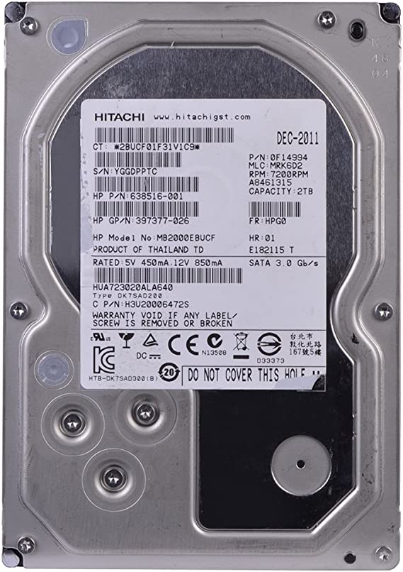 Quick-RELEA HP 574755-B21 HP 2TB 3G SATA 7.2K RPM LFF 3.5-INCH