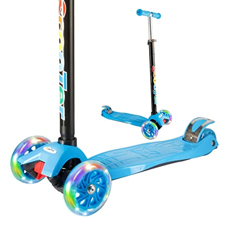 Vamslove Kick Scooter Kids Toys for Boys Girls, 3 Flashing Wheels Adjustable Height Non-Slip Handle Widening Deck Kids Scooter – Birthday Toys for Ages 3 4 5 6 7 8 Years Old Blue