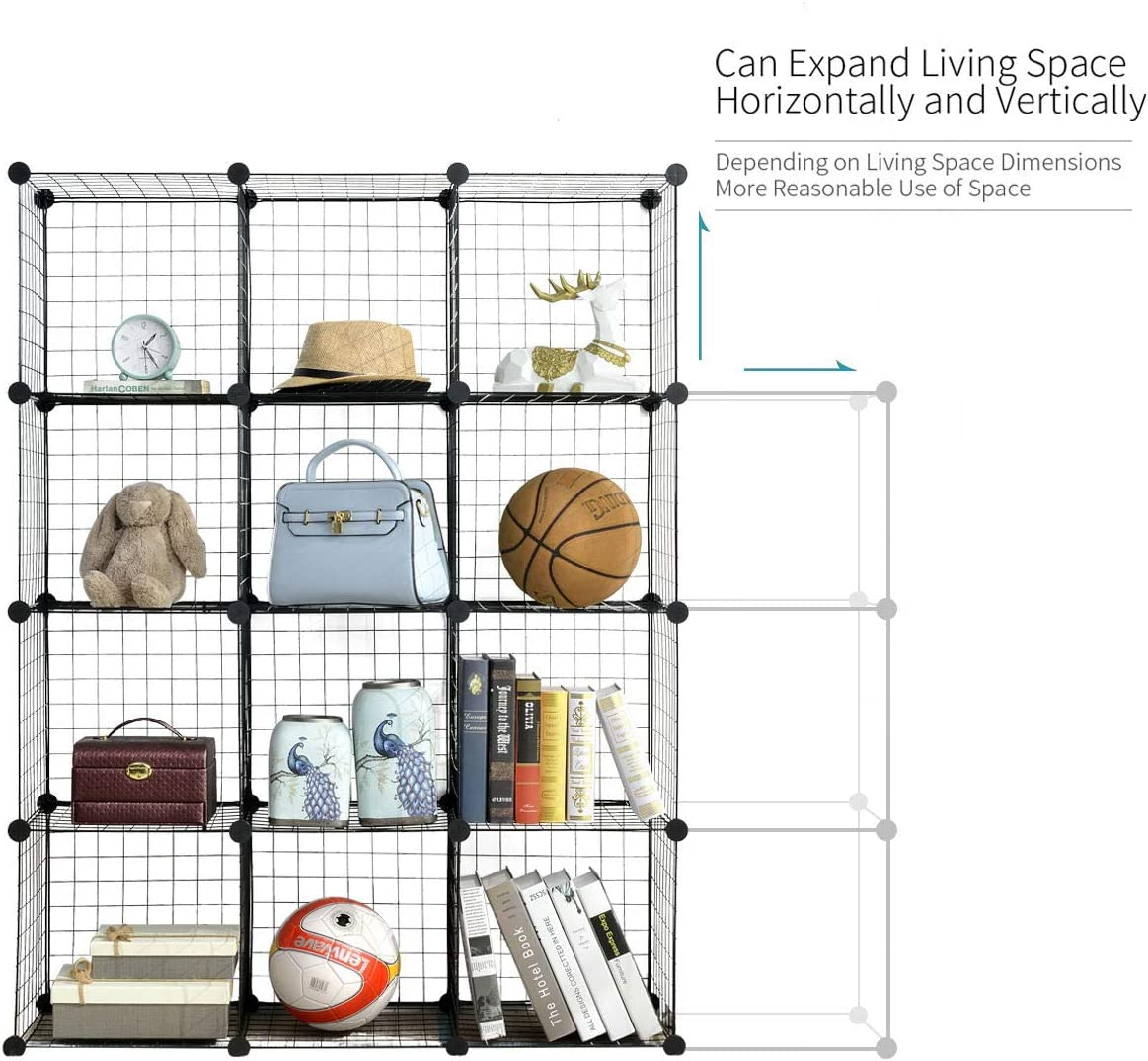DIY Wire Grid Bookcase 35cm vs. 30cm Black Multi-Use Modular Storage Shelving Rack Larger Cubes BRIAN /& DANY 12-Cube Wire Storage Cubes