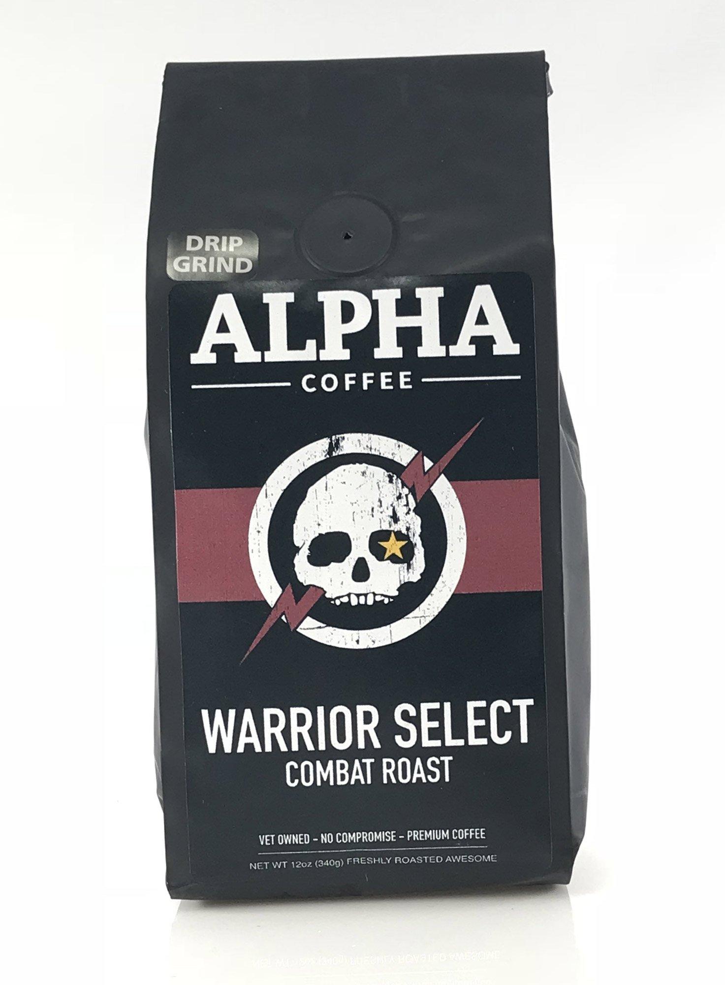 Alpha Coffee, Dark Roast Ground Coffee, 12 oz. Robust Warrior Select Combat Roast, 100% Arabica Coffee from Central America, Papua New Guinea