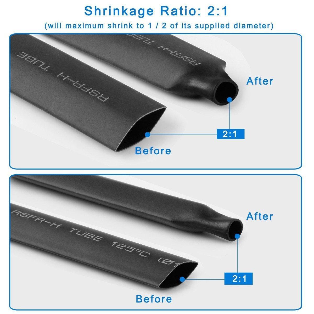 tinpa 381pcs negro tubos termorretráctiles Envoltura de alambre cable eléctrico tubo termorretráctil funda: Amazon.es: Amazon.es