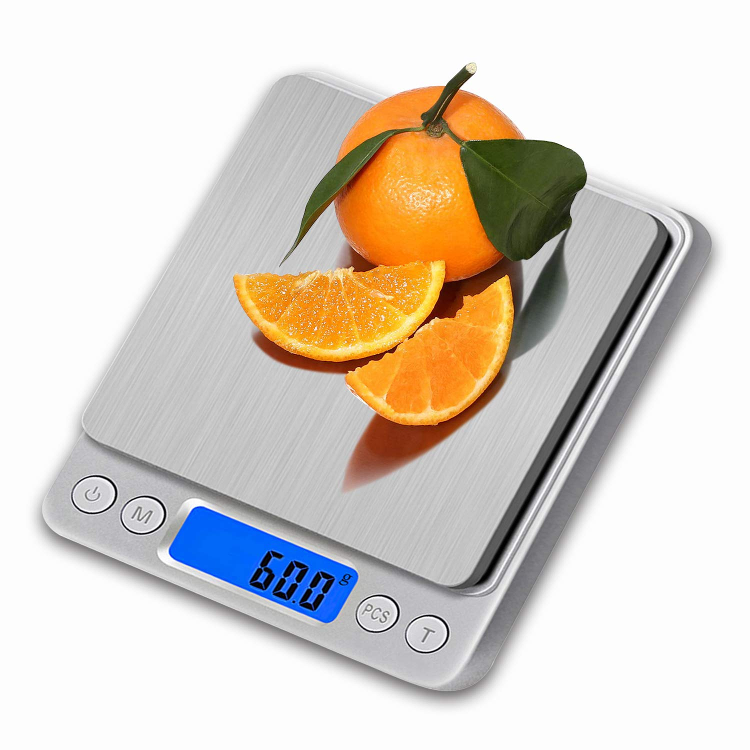 Upgraded Digital Kitchen Scale 3000g/ 0.1g, Pocket Jewelry Scale, Cooking Food Scale, Back-Lit LCD Display, 2 Trays, 6 Units, Auto Off, Tare, PCS, Stainless Steel