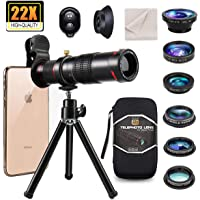 11 in 1 Universal Cell Phone Camera Lens kit,Clip on Smartphone 22X Telephoto Lens,Wide Angle Lens, Macro Lens, Fisheye…