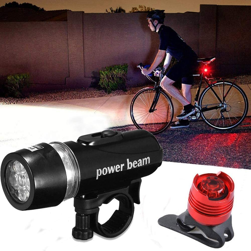 Waterproof Bright 5 LED Bike Bicycle Cycle Front and Rear Back Tail Light Lights
