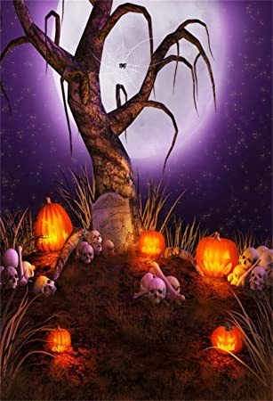 Halloween 6x8 FT Backdrop Photographers,Spooky Carved Halloween Jack o Lantern and Full Moon with Bats and Grave Lake Background for Baby Shower Bridal Wedding Studio Photography Pictures Orange Blac