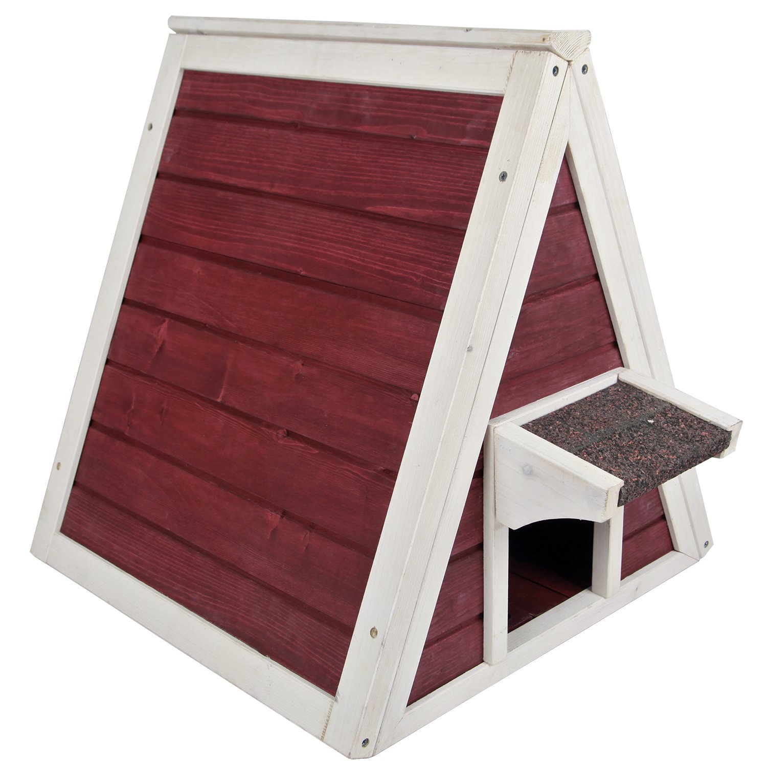 Petsfit Outdoor/Indoor Cat Shelter For Feral Cat, Wooden Cat House with Eave, Wine Red Cat Codo