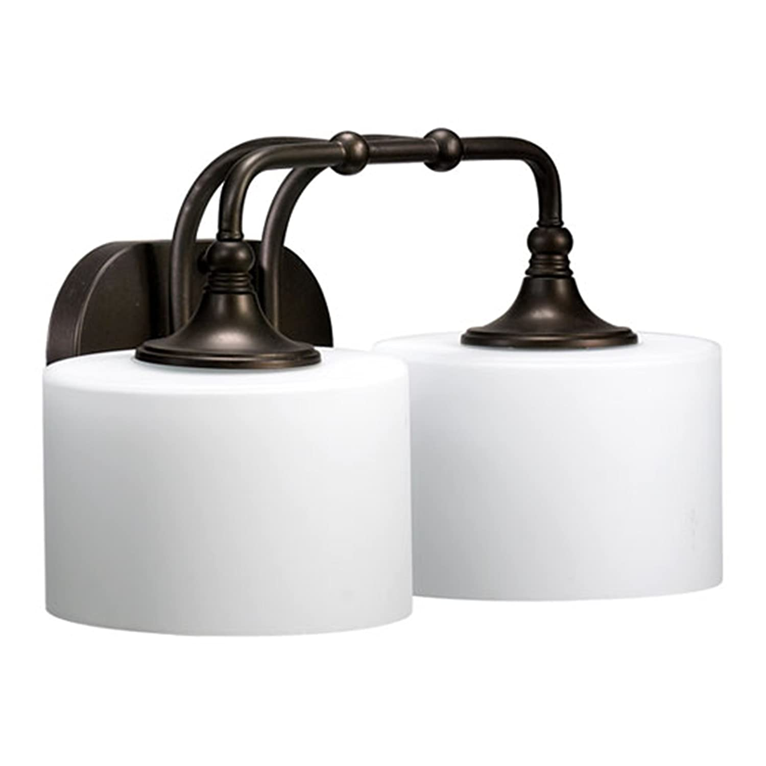 Quorum International 5090-2-86 Rockwood Collection 2-Light Vanity Fixture, Oiled Bronze Finish with Satin Opal Glass