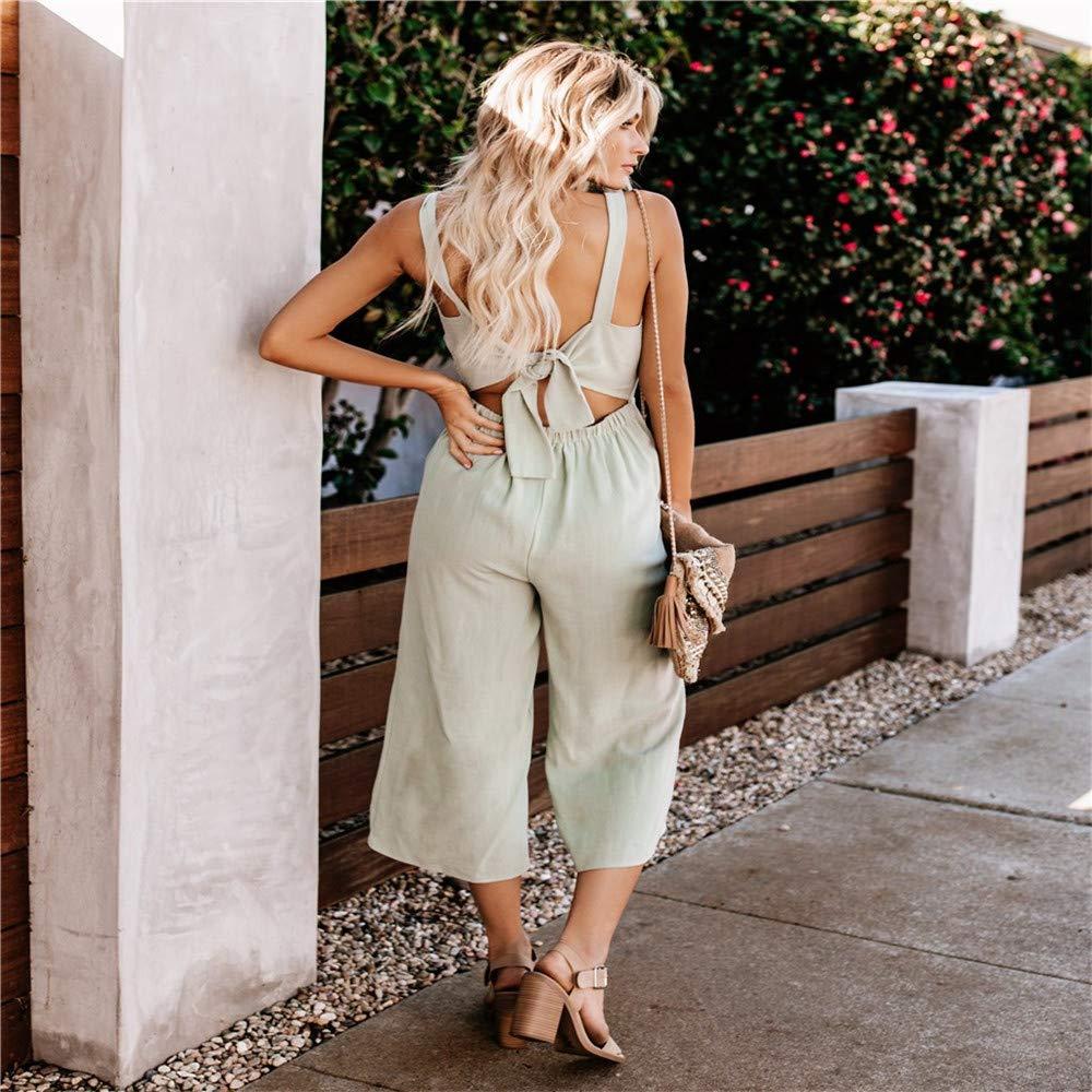 KINGOL Women Summer Fashion V-Neck Sleveless Button Bow Wide Leg Pants Long Jumpsuit Playsuit