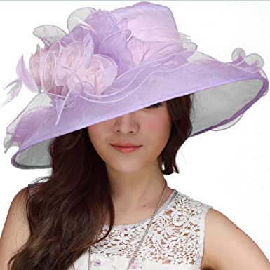 3bf985c00a93d June s Young Women Hat Kentucky Derby Cute Floppy Ruffle at Amazon ...