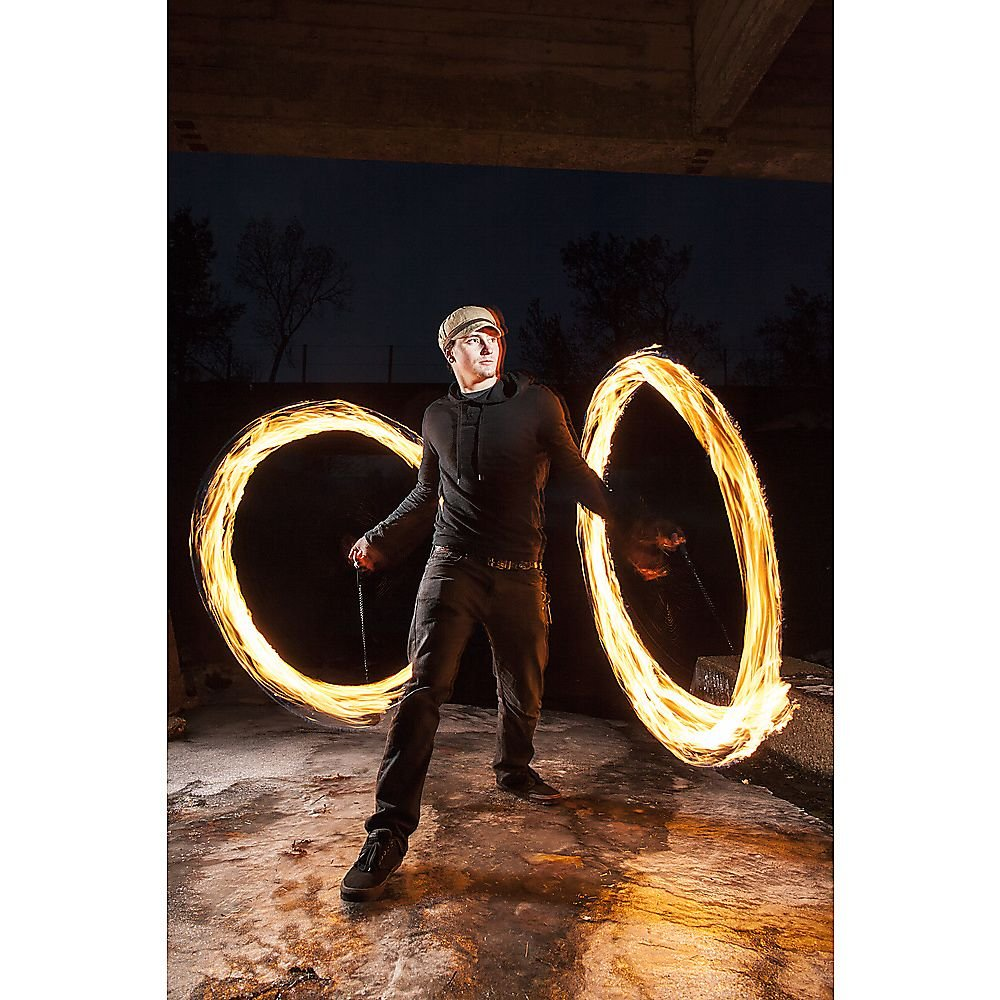 Pair of Pro Chain Block Fire Poi Large - Silver Chain, M - 26 inch (66cm) by Home of Poi (Image #5)